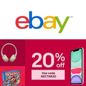 Get 20% off (Nectar Members Only) or 15% off (All Other Members) Selected Sellers (Min Spend £15 / Max Discount £60) @ eBay