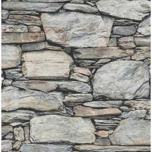Distinctive Slate Stone Wall Wallpaper Natural Grey, Light Beige Plus 5% off first order £9 @ I Love Wallpaper