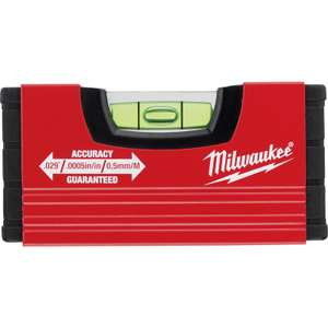 Milwaukee 10cm (4-inch) Minibox pocket spirit level for £4.79 click & collect (no delivery available) @ Toolstation