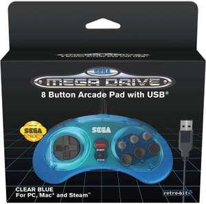 Official SEGA Mega Drive Mini Clear Blue USB Controller 8-Button Arcade Pad - £17.99 (+£4.49 Non Prime) @ Amazon