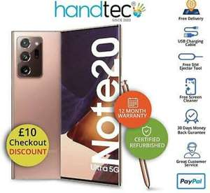 Refurbished Samsung Galaxy Note 20 Ultra 256GB 5G Unlocked Smartphone Mystic Bronze Mint A+ £728.99 ebay / handtec