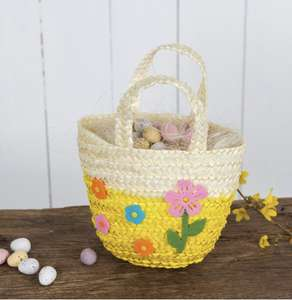 Yellow or Pink Straw Basket Now £1 + £3.95 delivery @ Rex London