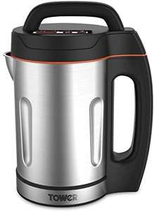 Tower T12031 Soup Maker with Stainless Steel Jug and Blade, LED Panel, Intelligent Control System, 1000 W, 1.6 Litre - £36.57 @ Amazon