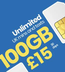 Lycamobile (o2 4G) 100GB/unlimiteds 30 day PAYG £15 @ Lycamobile