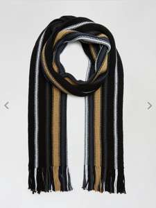 BOGOF Black And Camel Raschel Knitted Scarf With Recycled Polyester BOGOF £4 at Burton