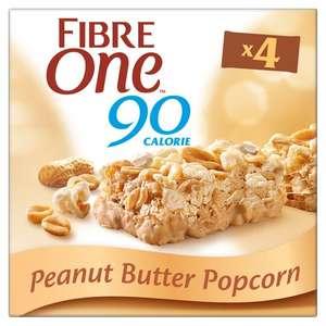Fibre One 90 Calorie Peanut Butter OR Milk Chocolate Popcorn Bars - 4 Pack, Now 99p ( minimum basket + del charge ) @ Asda