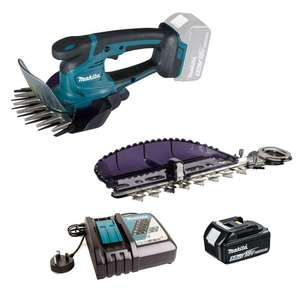 Makita DUM604 18v Cordless Grass Shears with 1x 5ah Battery, Charger & Hedge Trimmer Blade + Claim extra battery £159.95 @ Power Tool World