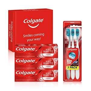 Colgate Max White Luminous Teeth Whitening Toothpaste 3x75ml Toothpaste & 3 Pack Toothbrush £6.83 (+£4.49 Non Prime) £6.15 S/S @ Amazon