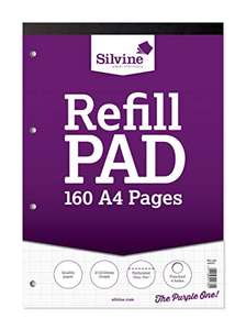 Silvine 160 Page A4 Refill Pad, Head Bound and Punched 4 Holes. Ruled 2-10-20mm Graph £1.39 @ Amazon Prime / £5.88 Non Prime