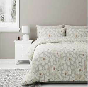 Bodie Natural Floral Reversible Duvet Cover and Pillowcase Set - Single £8 / Double £10 / King £12.50 (Free Collection) @ Dunelm