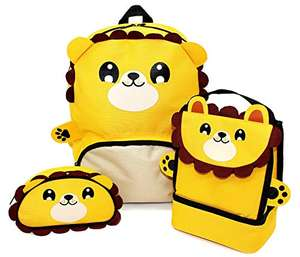 Childrens Boys Girls Animal Backpack, Lunch Bag & Pencil Case Set - £13.82 (+£4.49 Non-Prime) @ Amazon
