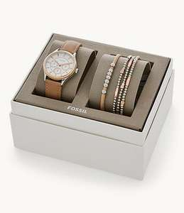 Fossil Tan Leather Watch And Jewellery Gift Set - £89 (possible £75.65 with a new account) @ Fossil