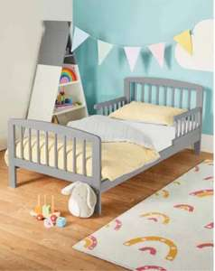 Mamia Grey Toddler Bed & Mattress £89.94 delivered @ ALDI