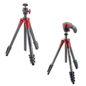 Manfrotto Compact Light Red Tripod - £19.97 or Compact Action Red Tripod - £24.97 @ Currys PC World