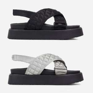 Squad Quilted Cross Over Strap Flat Dad Sandal In Black, Grey, or Cream now £8.49 using code (+£2.99 delivery) @ EGO