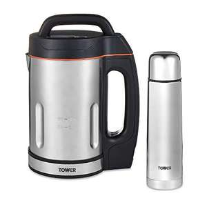 Tower T12055 Soup Maker + 500ml Flask, 1000W, 1.6 Litre, Stainless Steel £32.58 @ Amazon