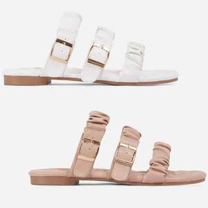 Robyn Buckle Detail Ruched Triple Strap Quilted Flat Slider Sandal - 4 colour options now £6.79 using code (+£2.99 delivery) @ EGO
