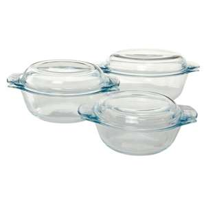 Pyrex 3 Piece Essentials Glass Bowl Set with Lids (1.4L / 2.1L / 3L) - £12.50 @ Asda