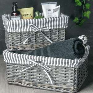 M&W grey wicker baskets (set of three different sizes) for £10.99 delivered using code @ Roov