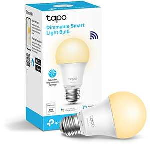 TP-Link Tapo Smart Bulb, E27 Dimmable - £7.99 (+£4.49 non prime) with voucher at Amazon (Colour-changeable E27 at £8.99)