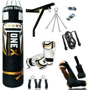 15 Piece Boxing Set 3/4/5ft Filled Heavy Punch Bag Gloves, Chains, Bracket, Kick £43.94 at ebay sportsmaster2014