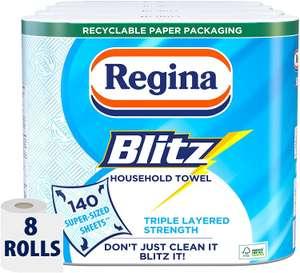 Regina Blitz Household Towel, 8 Rolls, 560 Super-Sized Sheets £10 Prime + £4.49 NP - £7 with 20% S&S voucher @ Amazon