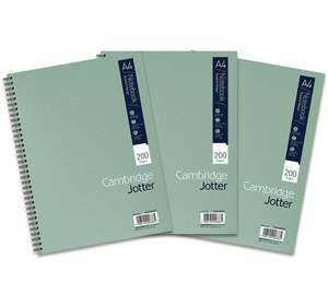 Cambridge Jotter, green A4 Notebook Wirebound Lined 200 Page - Pack of 3 - £4.04 (+£4.49 delivery non prime) Amazon