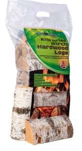 Two 8kg Kiln dried birch log bags for £8
