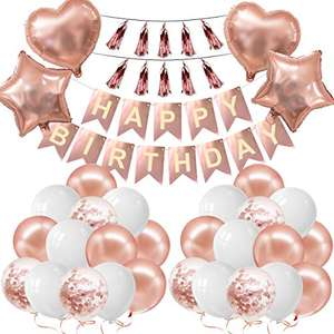 Rose Gold Birthday Decorations Happy Birthday Banner & Balloons £5.99 prime / £10.48 non prime Sold by AO LEI and Fulfilled by Amazon