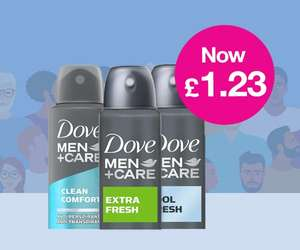 Daily Deal - £1.23 on Dove Men Anti-Perspirant Deodorant 150ml (Free click and collect) Member Deal @ Superdrug