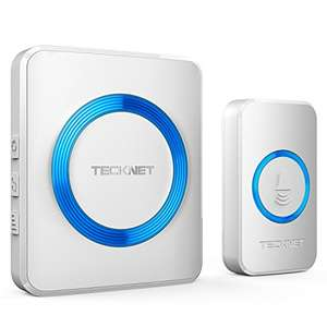 TECKNET Wireless Doorbell with 300m Range, 38 Chimes, 4-Level Volume & Blue Light for £9.99 Prime (+£4.49) delivered @ Red.EU.Store / Amazon