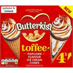 Butterkist 4 Toffee and Popcorn Flavour Ice Cream Cones 304g @ Iceland £2