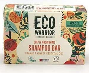 Solid Shampoo Bar Deeply Nourishing Essential Oils Natural Vegan Eco Warrior Orange and Ginger, 100 gram £3 (+£4.49 Non Prime) @ Amazon