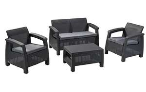 Keter Corfu 4 Seater Rattan effect Outdoor garden furniture £269.99 sold by Amazon