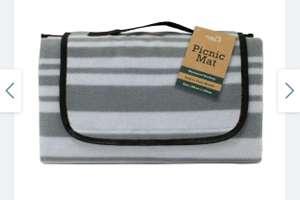 Grey Striped Picnic Rug 150x125cm (Click+Collect) £7.49 @ Robert Dyas