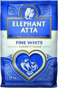 Elephant Atta Fine White Chapatti Atta Flour   (25kg) £12.23 @ Amazon (£4.49 p&p non prime)