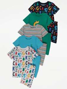 Colourful Alphabet Print Short Pyjamas 5 Pack (short sleeve shirt and shorts) for £10 free click and collect Asda George