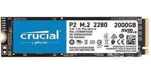 2 TB - Crucial P2 CT2000P2SSD8 Internal SSD, Up to 2400 MB/s (3D NAND, NVMe, PCIe, M.2) - £126.99 @ Amazon Prime members