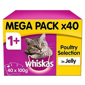 Whiskas 1+ Years Cat Pouches Poultry Selection in Jelly, 40 x 100g (4 kg) £9.49 + £4.49 NP / £8.54 With Subscribe & Save @ Amazon