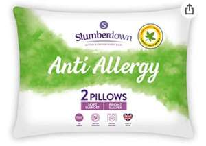 Slumberdown Anti Allergy White Pillows 2 Pack Soft Support Bed Pillows Designed for Front Sleepers £7.70 @ Amazon prime exclusive