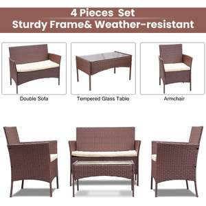 4 Piece Rattan garden furniture Set With Table - Brown @ The Range
