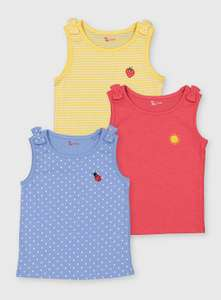 Bright Cotton Girls Vests With Embroidery (Pack of 3 ) From £4 with Free Click and collect from Argos