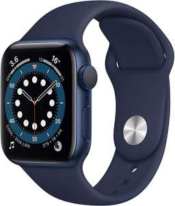Apple Watch Series 6 GPS, 40mm Blue Aluminium Case with Deep Navy Sport Band - £315.83 @ Amazon