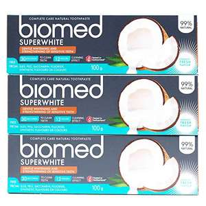 Biomed Superwhite Toothpaste x 3 pack £4.61 / £4.38 S&S (Prime) + £4.49 (non Prime) at Amazon