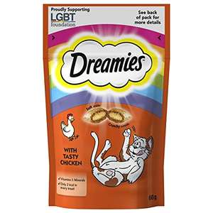 Dreamies Cat Treats, Tasty Snacks with Tempting Chicken Cat Food 8 Pouches of 60g £4.37 / £3.93 S&S (Prime) + £4.49 (non Prime) at Amazon