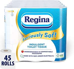 Regina Seriously Soft - 45 Rolls £19.72 Prime / £15.77 with 20% coupon (Possible £13.41 with S&S) + £4.49 Non Prime @ Amazon