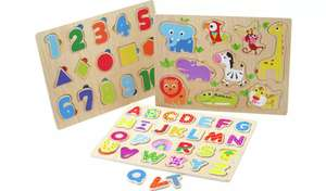Chad Valley Play Smart 3 Pack Wooden Puzzles now £5 with Free Click and collect from Argos
