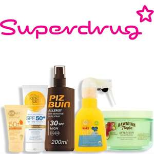 Save on Saturdays! Save 50% on selected Suncare: Solait, Piz Buin, Hawaiian Tropic, Bondi Sands + Free Click and collect @ Superdrug