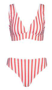 Stripe Plunge Triangle Cheeky Bum Bikini £3.40 with code for next day delivery @ Boohoo