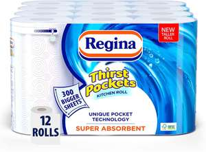 Regina Thirst Pockets Kitchen Roll | 12 Rolls | 1,200 Super Absorbent Sheets £12 @ Amazon (£4.49 p&p np) voucher selected accounts £8.40